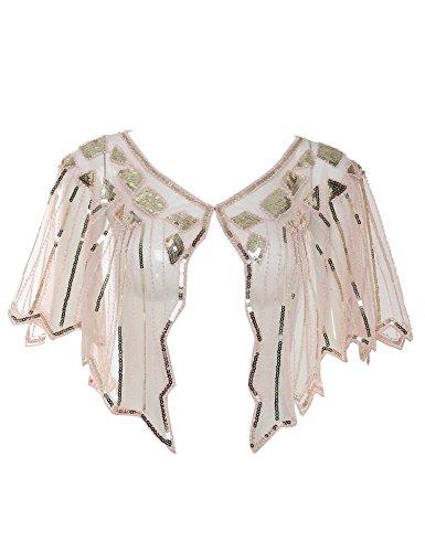 Vintage 1920s Shawl Beaded Sequin Deco Evening Cape Shrug Bolero Flapper Cover Up (Pink) ()