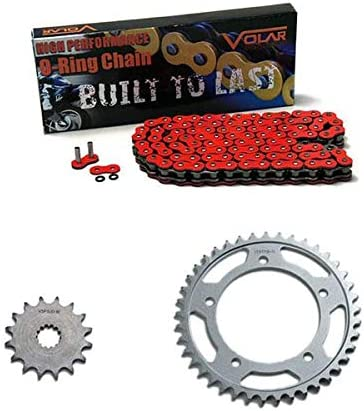 Volar O-Ring Chain and Sprocket Kit Red for 2011-2016 Suzuki GSXR 750