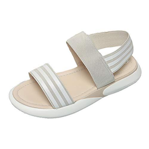 (Hot Sales!Fashion Women Stretch Fabric Casual Summer Beach Sandals Ladies Wedge Sandals with Pearls Across The Top Platform Sandals High Heels- Braide Espadrille Platform Adjustable)