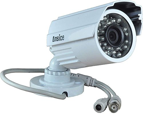 Ansice CCTV Camera(White) Day Night 24 Infrared Leds Long Angle 12mm 1000tvl Cmos with Ir-cut Bullet Security Camera Cctv Home Surveillance Outdoor Ir Bullet with Bonus Power Supply