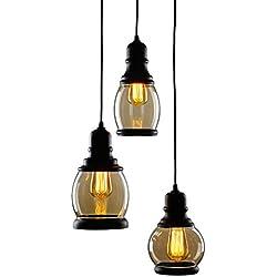 CO-Z 3-Light Cluster Chandelier Pendant, 3 Glass Jar Hanging Pendant Ceiling Lighting Fixture, Antique Black Mason Jar Pendant Light for Kitchen Island Dining Table Bar Counter Bedroom