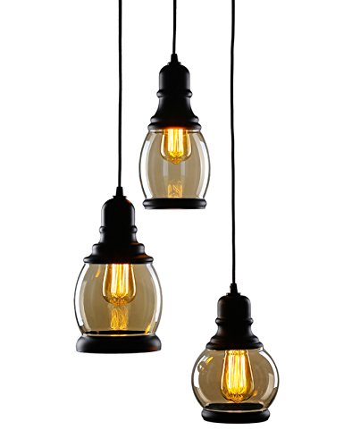 CO-Z 3-Light Cluster Chandelier Pendant, 3 Glass Jar Hanging Pendant Ceiling Lighting Fixture, Antique Black Pendant Light for Kitchen Island/ Dining/ Bar Counter with Edison Bulbs (3 Bulb Hanging Light)