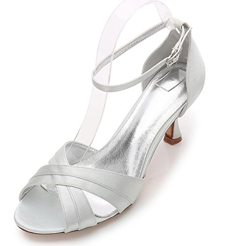 L@YC Women Ladies Evening Wedding ML17061-33 Party Peep Toe Sandals Shoes Size/Ivory/Silver/Blue Silver 3v1FLI