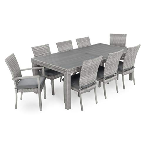 RST Brands Cannes Woven Dining Set with Cushions, Charcoal Grey (Rst Outdoor Patio Set)