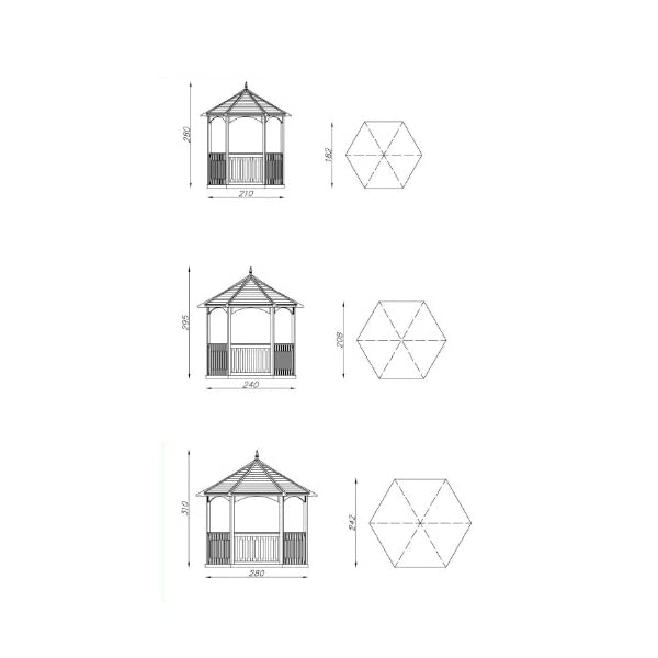 MIO-GIARDINO Brompton - Gazebo esagonale in legno per giardino - tetto in legno - pavimento incluso - misure : 240 x 208… 2 spesavip