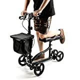 Steerable Knee Walker with Lockable Brake, Medical Knee Scooter Alternative to Crutches with Shock Absorber for Broken Leg and Foot Injuries