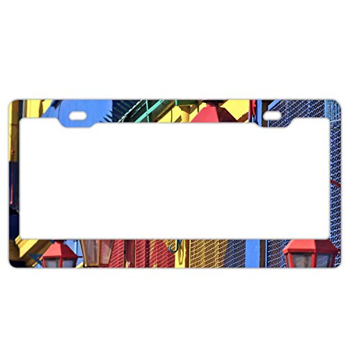 (KSLIDS Product Express Colorful Lamp Personalized Metal License Plate Frame)