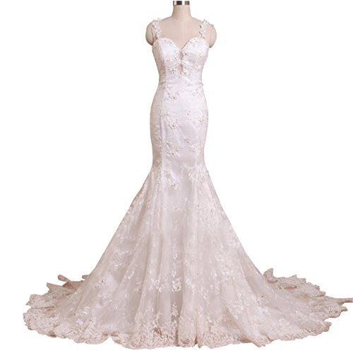 Shushaliying Women's V-Neck Sleeveless Spaghetti Strap Gown Sexy Open Back Sheath Column Wedding Dress White,8