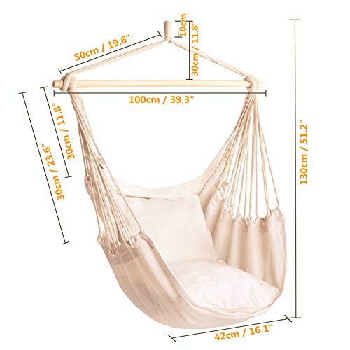 CCTRO Hanging Rope Hammock Chair Swing Seat, Large Brazilian Hammock Net Chair Porch Chair for Yard, Bedroom, Patio, Porch, Indoor, Outdoor – 2 Seat Cushions Included