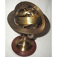 Globo-esfera armilar de latón-colour en base de madera