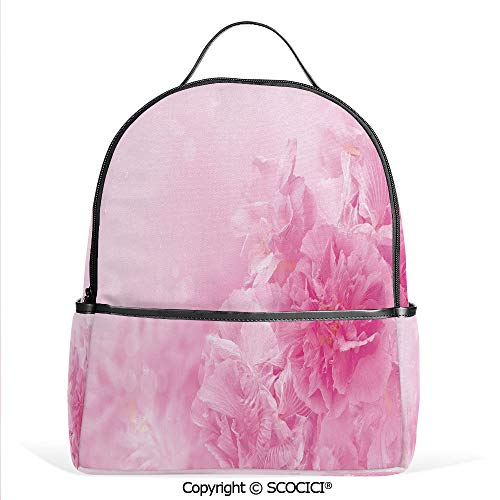 - 3D Printed Pattern Backpack Spring Flowers Close Up Florets Bouquet Elegance Beauty Wedding Shabby Chic Print Decorative,Baby Pink,Adorable Funny Personalized Graphics
