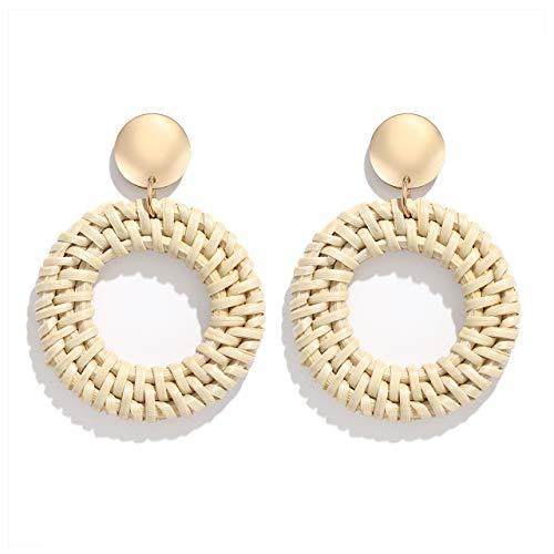 YAHPERN Rattan Earrings for Women Girls Handmade Lightweight Wicker Straw Stud Earrings Statement Weaving Braid Drop Dangle Earring(Rattan Hoop)