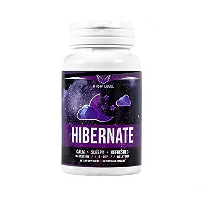 High Level Hibernate - Natural Sleep Aid Supplement, Non-Habit Forming, Fall Asleep Fast, Stay Asleep Longer, Wake Up Refreshed - Melatonin, 5-HTP, Magnesium + Natural Herbs - Calm, Sleepy + Refreshed