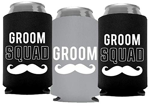 Your Dream Party Shop Groom and Grooms Squad Bachelor Party Can Coolers, Set of 12 Beer Can Coolies, Perfect Bachelor Party Decorations and as Grooms Men Gifts (Frost Grey)
