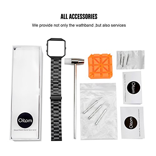 For Fitbit Blaze Accessory Bands Large,Oitom Frame Housing+Stainless steel Bracelet Replacement Strap Watch Band for Fitbit Blaze Smart Fitness Watch (Black Steel+Frame) by Oitom (Image #6)