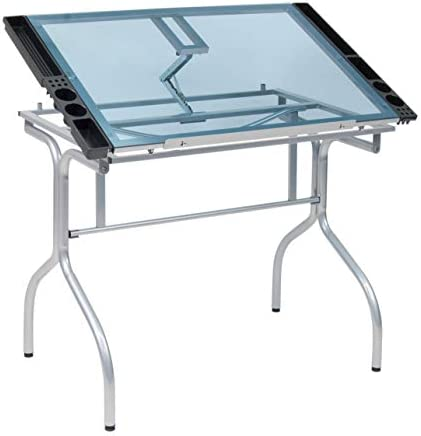 Studio Designs Folding Modern Glass Top Adjustable Drafting Table Craft Table Drawing Desk Hobby Table Writing Desk Studio Desk, 35.25 W x 23.75 D, Silver Blue Glass