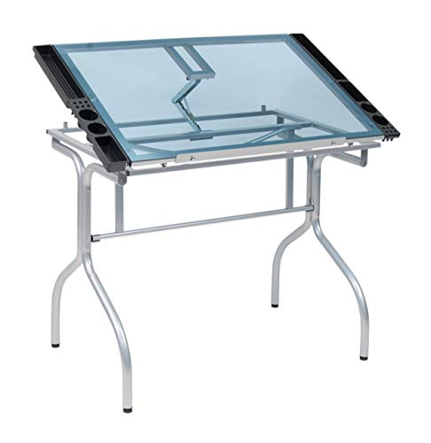 Studio Designs Folding Modern Glass Top Adjustable Drafting Table Craft Table Drawing Desk Hobby Table Writing Desk Studio Desk, 35.25' W x 23.75' D, Silver / Blue Glass