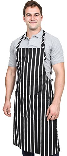 Utopia Kitchen Adjustable Bib Apron With Pockets - Premium Quality Unisex with Neck Strap - Extra Long Ties - Black/White Pinstripe (34 inches by 28 inches) Single Pack