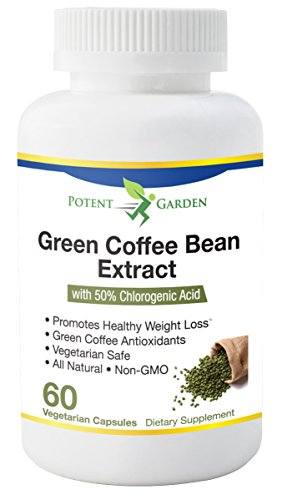 Potent Garden Green Coffee Bean Extract 100% Pure with Antioxidants, All Natural Weight Loss Supplement, Maintains Normal Blood Sugar Levels, 50% Chlorogenic Acid, Non-GMO, 800mg, 60 Count