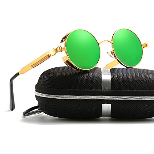 Retro Round Gothic Circle Steampunk Polarized Sunglasses Metal Alloy Polarized Sun glasses for Men Women (Gold Frame Green Lens, POLARIZED LENS & 100% UV400)