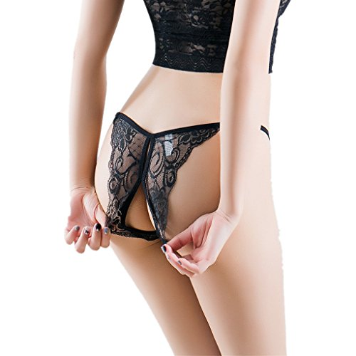 ILUCI Sexy Lingerie for Women for Sex Women's Bow and Lace Mesh Briefs G-String Thongs Underwear Panty Clearance (1 PC, A)