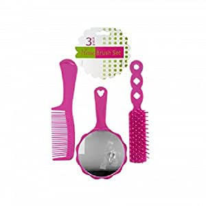 girls 3 piece pink hair brush set plastic brush comb and mirror perfect for. Black Bedroom Furniture Sets. Home Design Ideas