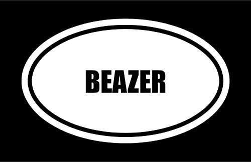 6  Die Cut White Vinyl Beazer Name Oval Euro Style Decal Sticker