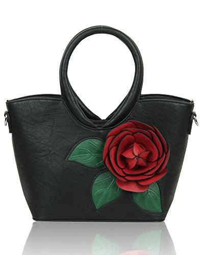 Tote Black Flower Shoulder embellished handbag Bag Women's YIwq16