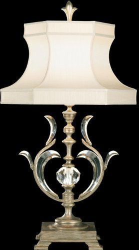 Fine Art Lamps 737510, Beveled Arcs 3 Way Crystal Chandelier Table Lamp, 1 Light, 150 Watts, Silver ()