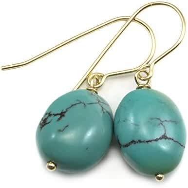 14k Gold Filled Turquoise Earrings Blue Green Fat Oval Cut Drops Dark Veining