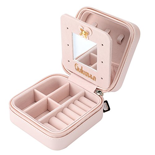 Jewelry Box, Guluman Small Portable Travel Jewelry Storage Case Display Organizer Mirrored Holder for Rings, Earring, Necklace, Bracelet (S=10CM, Pink)
