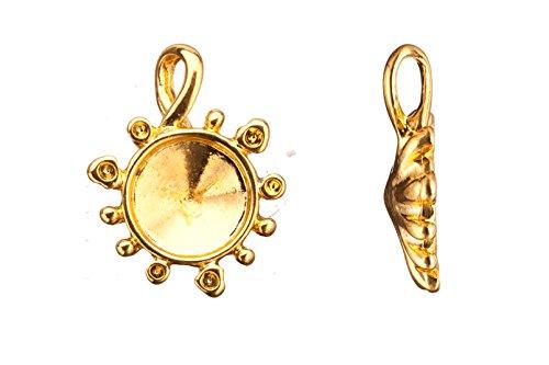 (drop/pendants, 16k gold finished twist bail round rivoli setting 31.38x23.8mm fits 15mm rivoli and shallow pavilion crystals Swarovski crystals)