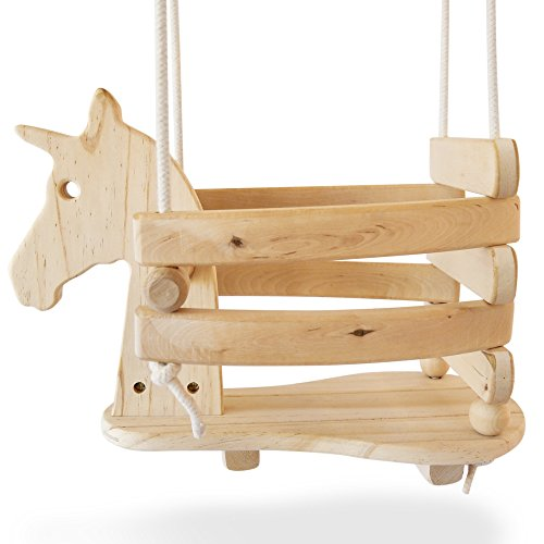 Ecotribe Wooden Unicorn Swing Set for Toddlers - Smooth Birch Wood with Natural Cotton Ropes Outdoor & Indoor Swing - Eco-Conscious Toddler Bucket Swing Chair, for Baby 6 Months to 3 Years Old