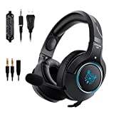 Gaming Headset with Mic and RGB LED Light for PS4, Xbox One, PC, Nintendo Switch, Laptop, Computer, Mac, 3.5mm Jack Surround Stereo Sound Noise Isolating Over Ear Soft Earmuf Easy Volume Control