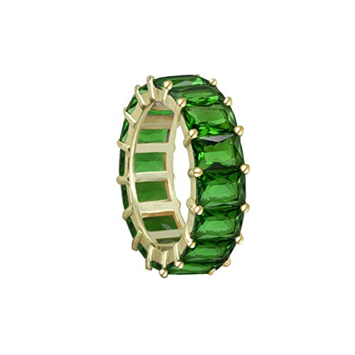 (Sterling Silver 4mmx8mm Emerald Cut emerald shape Eternity Band, Green Blue or Red Eternity Ring,Multi Colored Band Ring,Multi Colored Sterling Silver Ring,Gift for her,Gift for mom ... (5, Green))