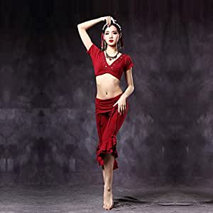 Belly Dance Outfits Women's Training Cotton Ruffles Cascading Ruffle 2 Pieces Short Sleeve Dropped Top Pants , l