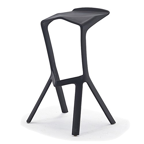 Modern simple, casual fashion, creative bar tables and chairs / high stool / bar chairs / counter chairs, PP plastic material ( Color : Black ) by Xin-stool