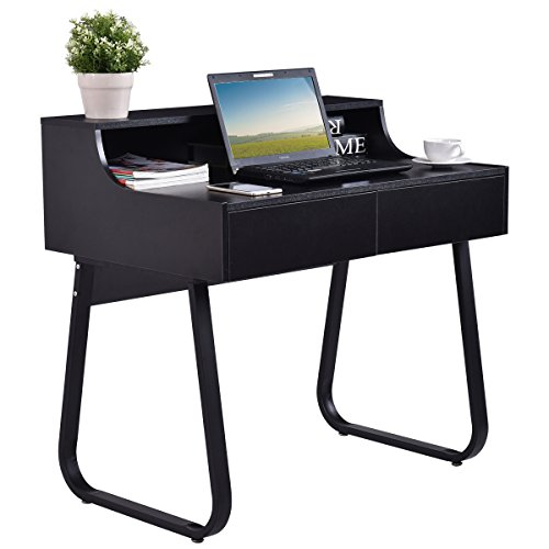 TANGKULA Computer Desk Home Office Dom with 2 Drawers Writing Table Workstation by TANGKULA