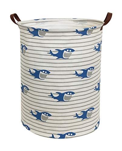 HIYAGON Canvas Storage Basket,Large Laundry Hamper with Handles-Collapsible Storage Bin for Kids Room,Nersury Hamper,Toy Storage 19.7×15.7(Shark)