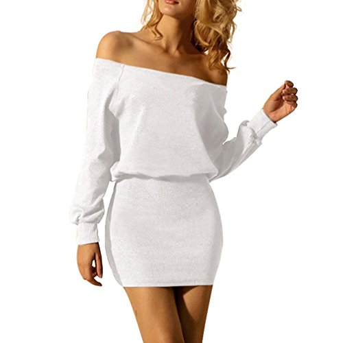 Funic Women's Off Shoulder Long Sleeve Solid Elastic Stretchy Bodycon Mini Short Dress (L, White) ()