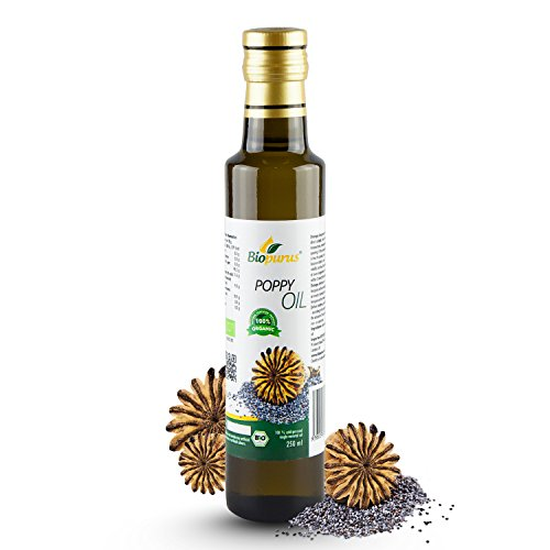 Certified Organic Cold Pressed Poppy Seed Oil 250ml 8.45 oz Biopurus