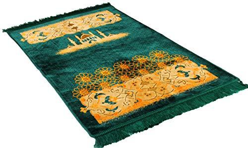 Gold Case Premium Islamic Prayer Rug/Janamaz Sajjadah/Namaz Seccade Made in Turkey, Green