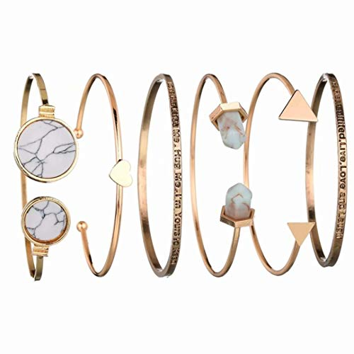 CARDEON 6 Pcs Adjustable Resin Crystal Bracelet Cuff Bangle Link Gifts for Bridesmaids