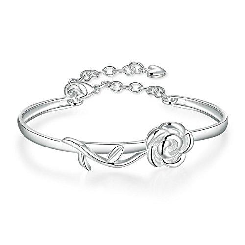 Sterling Silver Rose Bracelet - Godyce Rose Flower Bangle Bracelet Sterling Silver Plated for Women Girl Jewelry Gift