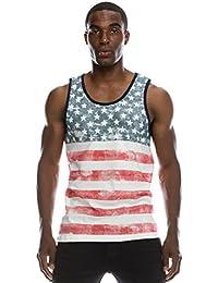 Mens Hipster Hip Hop American USA Flag Crewneck Tank Top Collection