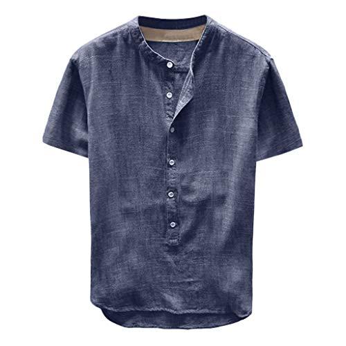 F_Gotal Men's Linen Shirts Short Sleeve Beach Tee Shirt Button Up Tops Cotton Lightweight Plain Mandarin Collar Blouses Navy