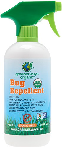 GREENERWAYS ORGANIC Mosquito Insect Repellent, Premium, USDA Organic, DEET-FREE, Natural, Mosquito-Repellant, Bug Spray, Clothing Safe, Baby Safe, Kid Safe, Pet Safe, Family Size Big Repellent (16oz)