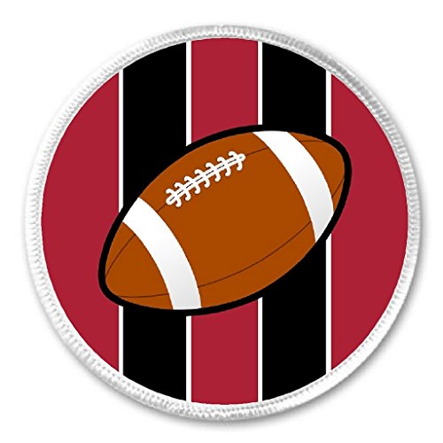 """Football Red & Black 3"""" Sew On Patch Team Pride Sport Support Cheer"""
