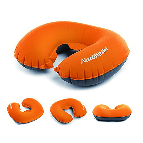 SUNKY U Shaped Neck Pillow, Inflatable Lightweight Portable Neck Support Cushion Pillow for Camping, Hiking, Office Nap, Video Watching, Home, Car, Airplane, Train and Bus - Orange