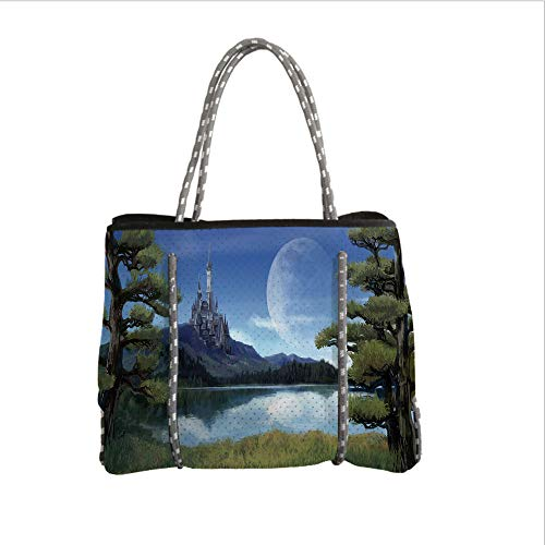 iPrint Neoprene Multipurpose Beach Bag Tote Bags,Fantasy Decor,Moon Surreal Scene with Riverside Lake Forest and Medieval Castle on Hill Art,Green Blue,Women Casual Handbag Tote Bags ()
